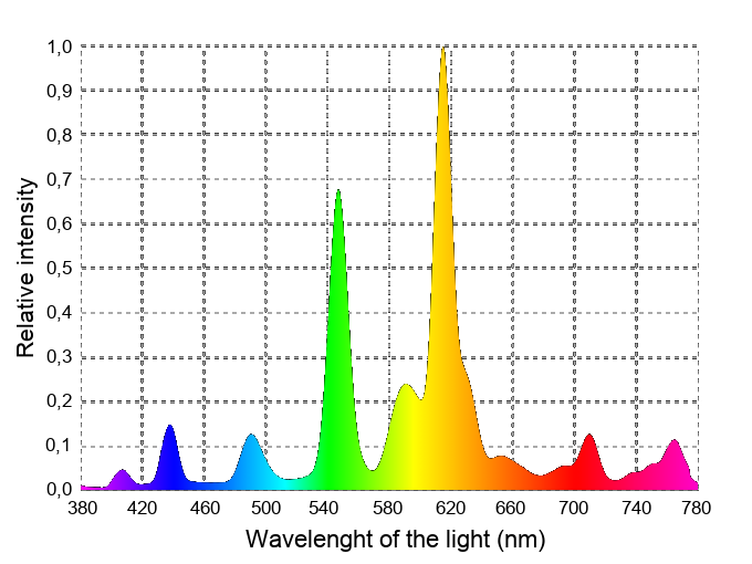 Spectrum of the fluorescent / CFL lamps