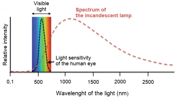 Spectrum of the incandescent lamps