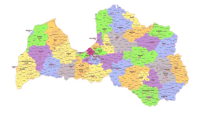 Jaunā Latvijas novadu karte